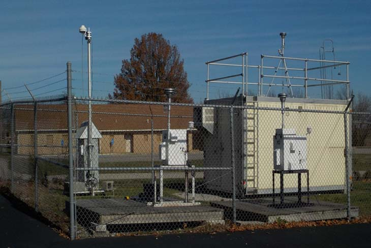 A typical air monitoring station with both continuous and manual samplers.