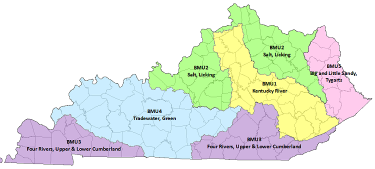 Map of Kentucky Basin Management Units