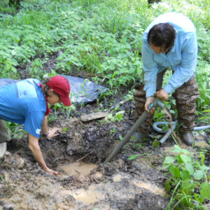 Division of Water inspectors taking samples from a stream