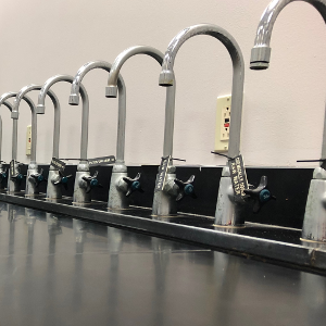image of line of faucets
