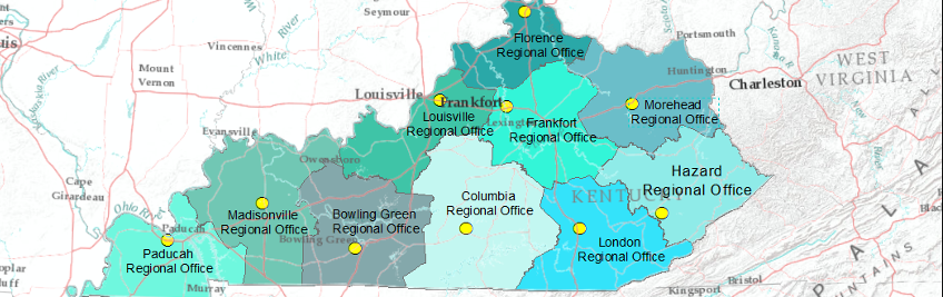 map of regional offices for Kentucky Division of Water