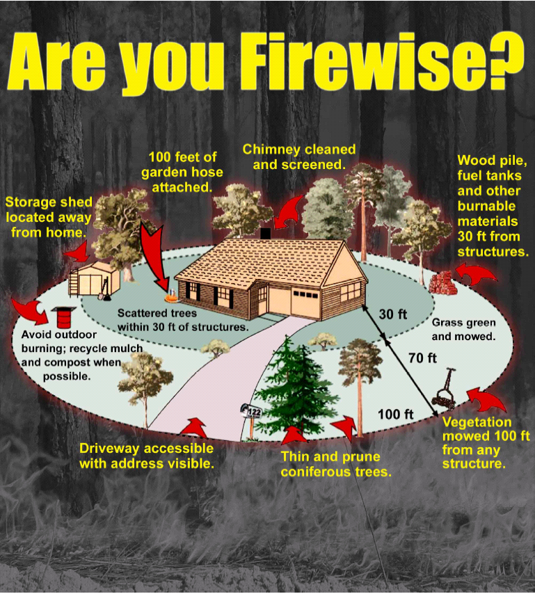 graphic of a firewise home