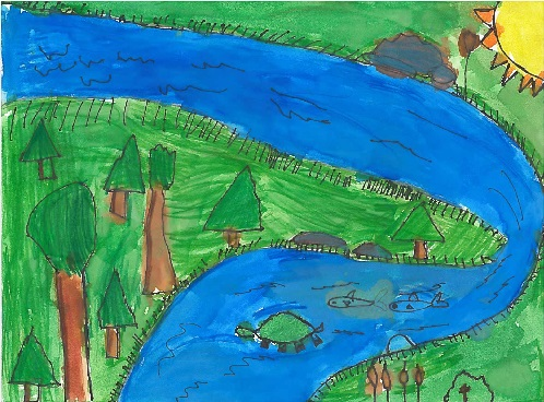 Child's drawing of a river with fish